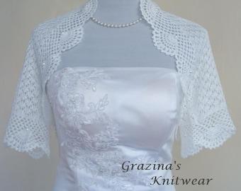 Knit to order. Bridal wedding shrug/bolero, hand lace knit white bridal shrug, wedding accessories