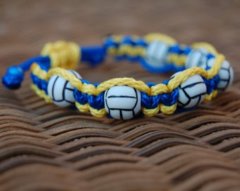 Royal Blue and Yellow Volleyball bracelet /  Soccer Jewelry / SoccerTeam / Sports Jewelry / Sports