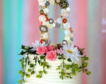Shabby Chic Monogram Cake Topper