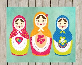 8x10 Russian Matryoshka Set Printable Set, Russian Nesting Dolls Printable Art, Babushka Print, Home Decor, Poster, Instant Download
