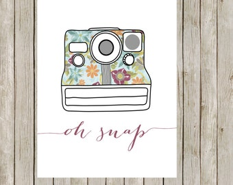 8x10 Retro Camera Print, Printable Wall Art, Office Print, Floral Wall Art, Camera Poster, Home Decor, Nursery, Instant Digital Download