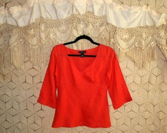 Linen Top XS Linen Blouse Orange Shirt Empire Waist Size 2 Summer Top Casual Orange Top Orange Blouse Linen Shirt Ann Taylor Womens Clothing