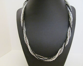 Beaded necklace, twisted beaded necklace, 5 strand beaded necklace