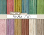 """Wood digital paper: """"SHABBY WOOD"""" with rustic distressed wood and shabby grungy woodgrain textures in used / dirty backgrounds"""