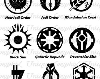 items similar to star wars symbol posters set of 3 jedi order sith galactic empire rebel. Black Bedroom Furniture Sets. Home Design Ideas