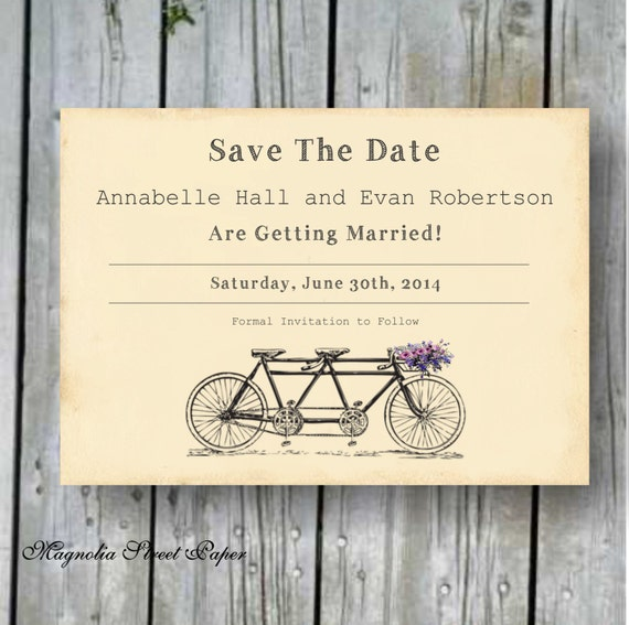 Tandem Bicycle Save The Date Invitation By Magnoliastreetpaper