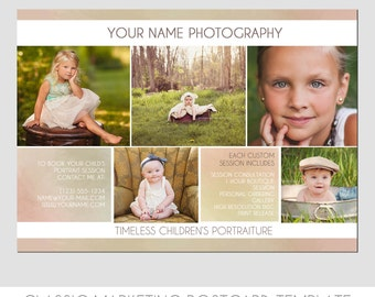 INSTANT DOWNLOAD - Classic Photography Postcard - Photography Template - Flyer - Minis - Kids - 5x7 - Elegant - Photoshop - Elements - Easy