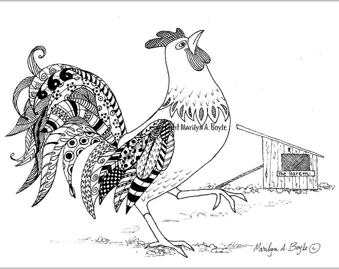 ORIGINAL INK ROOSTER Drawing; barnyard, feathers, doodling, rooster, art, wings, black and white, zentangle,