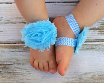 Baby Blue Chevron and White Baby Barefoot Sandals - Newborn Clothing - Baby Clothing - Toddler Sandals - Newborn Sandals