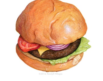 Cheeseburger Illustration // Food Art print, hamburger, Americana, Kitchen, Diner