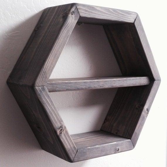 12 Hexagon Floating Shelf 5 Finish Options Large By