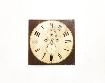 English Square Brown and White Grandfather Clock Dial