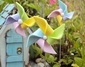 3 Miniature Pinwheel for Fairy Garden Polymer