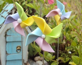 3 Miniature Pinwheel for Fairy Garden Polymer
