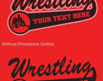 Wrestling Mom Sweatshirt/ Personalized Wrestling Sweatshirt/ Vinyl Rhinestone Personalized Wrestling Mom Team Name Mascot Hoodie Sweatshirt