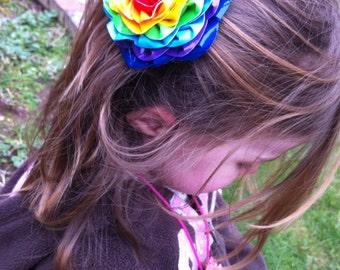 Rainbow Duct Tape Flower Hair Clip with Rhinestone Center