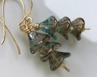 Aqua Glass Earrings / Czech Glass Flower Earrings / Aqua Blue Glass Flowers / Brass Earrings