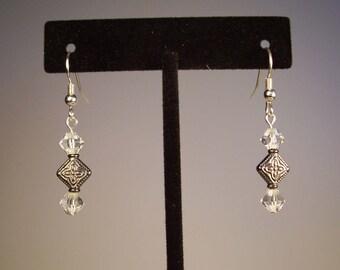 Clear Earrings, Crystal Earrings, Clear Crystal Earrings, Silver Earrings, Dainty Earrings, Vintage Earrings, Antiqued Aerrings