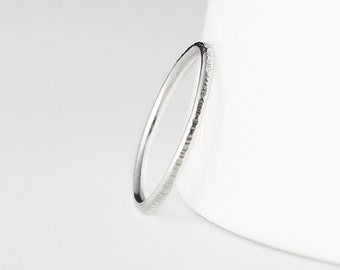 Coco - thin sterling silver ring - textured stacking ring - thin silver band - minimal silver jewellery - skinny ring