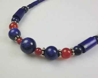 Fine Jewelry Handmade Necklace with Lapis Lazuli, Red Agate, Sterling Silver Beads and Hook and Eye Clasp