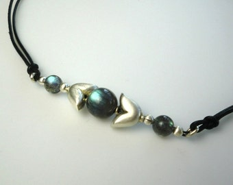 Fine Jewelry Handmade Necklace with Labradorite and Sterling Silver Beads on Leather Cord