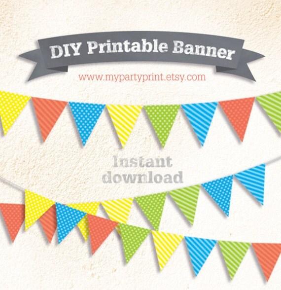 DIY Party Boys Printable Flag Bunting Banner Dot / Striped