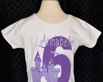 Personalized Birthday Princess Castle Applique Shirt or Onesie Girl or Boy