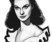 Vivien Leigh Scarlett O'Hara Portrait Drawing Print