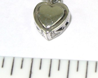 Sterling Silver Heart Charm Pendant - Small Heart charm for charm bracelet or necklace, Silver Heart Charm, Sterling Silver Charm