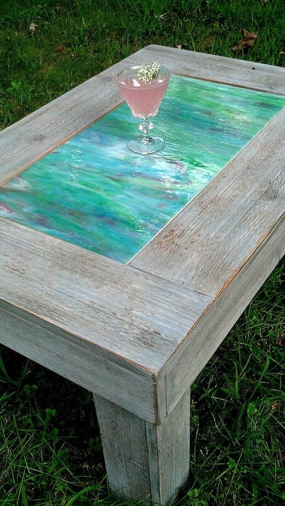 Items similar to Coffee Table-Wood and Green Art Glass-Handmade-Grey Barnwood Finish-Quick ...