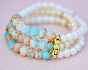 The Thalie - Pearls, glass beads & Swarovski Bracelet