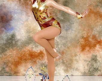 Acrobatic Dance Costume, Red and Gold Long Sleeve Bodysuit with Shorts, Boogie Woogie Bugle Boy, Jazz Costume