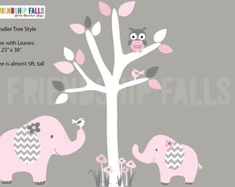 nursery Jungle Decal, elephant Wall Decal, Nursery Wall Decal, Friendship Falls XXL Branch Tree Set - Cotton Candy Scene