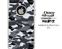 The Traditional Black & White Camouflage Skin For The iPhone 4-4s or 5-5s Otterbox Commuter Case