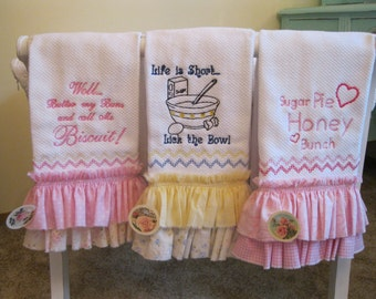 Country Bumpkin' emroidered and ruffled Kitchen Towels in three styles to choose from