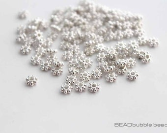 4mm Daisy Flower Tiny Metal Spacer Beads Silver Plated Flat Round Pack of 100 (BMS032)