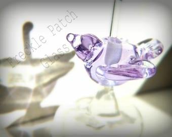 Handmade Purple Lampwork Bird Bead,  Animal, Birdy,  Critter,  Totem.