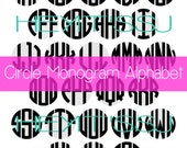 Circle Monogram Alphabet in SVG Vector Format, for use with Illustrator, Inkscape, Silhouette Studio