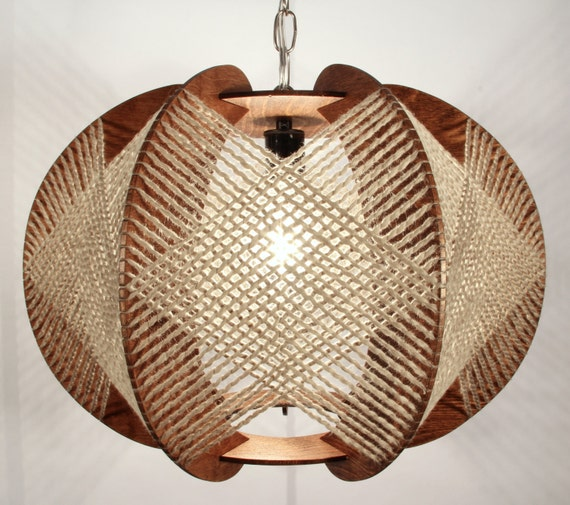 Wood Lighting Fixtures: Oak Handcrafted Wood Swag Light Fixture