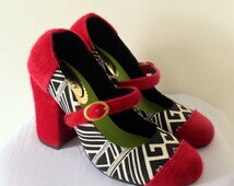 Red Mary Jane shoes with authentic Indonesian Fabric