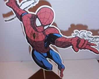 Spider man centerpieces- double sided on wood base