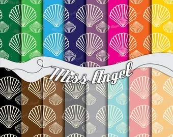 """Shell Paper Sheets. Digital Paper Pack Scrapbook, Bright colors. 16 Backgrounds, Sea Shells. Set of 12"""" X 12"""" Digital Printable Papers"""