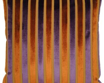 Purple And Rusty Orange Cushion Cover Striped Velvet Pillow Throw Case Lorca Fabric