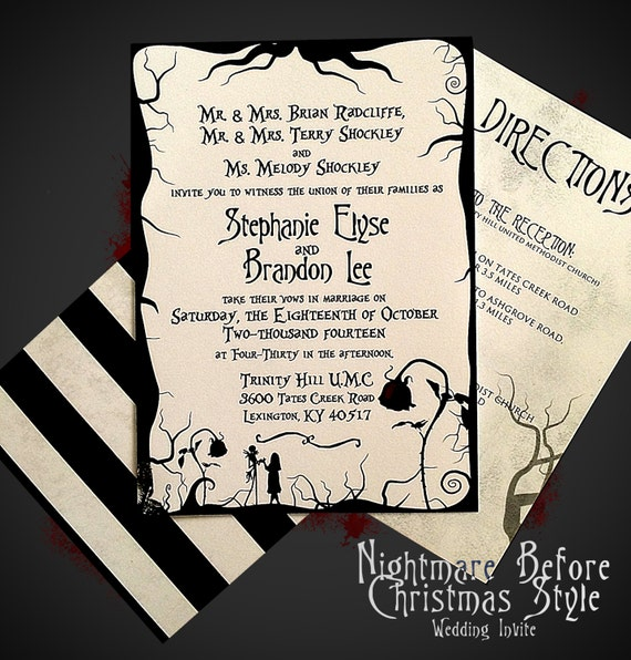 Nightmare Before Christmas Themed Wedding Invitation + RSVP Card