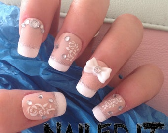 NAILED IT! - Hand painted false nails - 3D french manicure - white flower decals, bow, crystals!