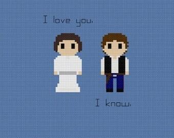 Star Wars Han & Leia Quote Cross Stitch Pattern