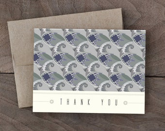 Gothic window pattern Thank you card - Geometric pattern thank you card - blue thank you card