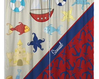 Kids Window Treatments, Nautical Curtain Panels, Curtains For A Bathroom,  Red Beach Window