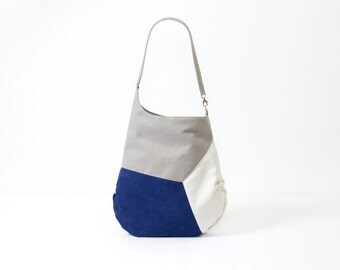 Blue leather bag vegan, beach bag faux leather, nautical crossbody bag blue