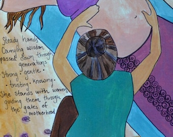 """MIDWIFE- 8"""" x 10"""" / homebirth/ birth art/ natural birth/ gift for new mom/ blessing way gift/ gift for mom/ new mom/ pregnancy"""